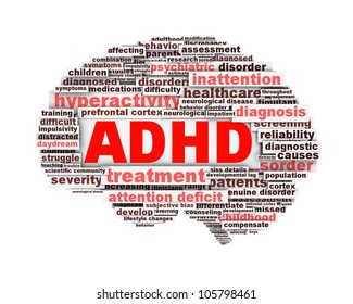 ADHD symbol conceptua;l design isolated on white background. Attention deficit hyperactivity disorder symbol conceptual design