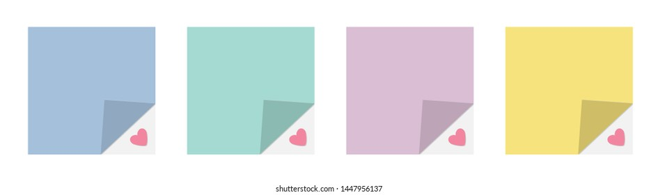 Adhesive paper notes and tag set line. Heart under corner. Template. Flat design style. White background. Isolated.