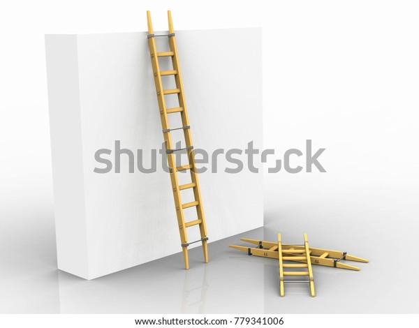 Adjustable ladder, Leonardo da Vinci, Codex Atlanticus 0007r. 3D model.