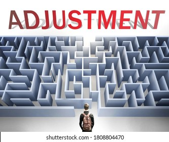Adjustment can be hard to get - pictured as a word Adjustment and a maze to symbolize that there is a long and difficult path to achieve and reach Adjustment, 3d illustration