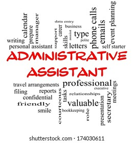 Administrative Assistant Word Cloud Concept in red caps with great terms such as professional, secretary, executive and more.