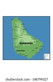 Administrative map of Barbados
