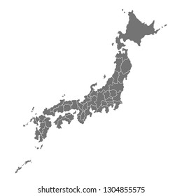 Administrative map of Japan with prefectures. illustration isolated on white background