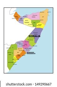 Administrative map of Somalia