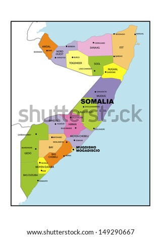 Administrative Map Somalia Stock Illustration 149290667 - Shutterstock