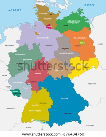 Administrative Political Map Germany Stock Illustration 676434760 ...