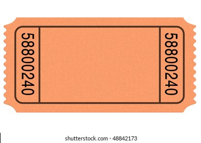Admit one blank movie ticket isolated on white