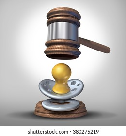 Adoption baby law and surrogacy or surrogate legal issues as a justice judge mallet or gavel coming down on an infant pacifier as a parenthood or reproductive or fertility law icon.
