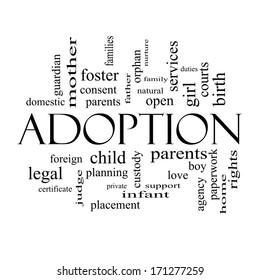 Adoption Word Cloud Concept in black and white with great terms such as baby, parent, rights, love and more.
