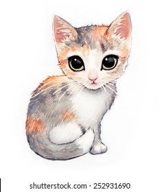 Adorable calico kitten with big green cat eyes in a cute hand painted watercolor pet illustration in gray orange pink and white.