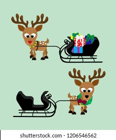 Adorable christmas reindeer with a shiny red nose with a sleigh full of presents and a festive wreath with bells around their necks.