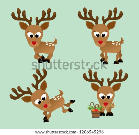 Adorable christmas reindeer with a shiny red nose in different poses – galloping, walking, bucking, frolicking and eating hay next to a bucket of delicious candy canes, apples, and carrots.