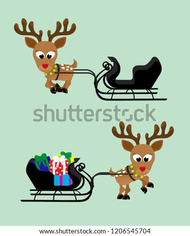 Adorable christmas reindeer with a shiny red nose with a sleigh full of presents and jingle bells around their necks.