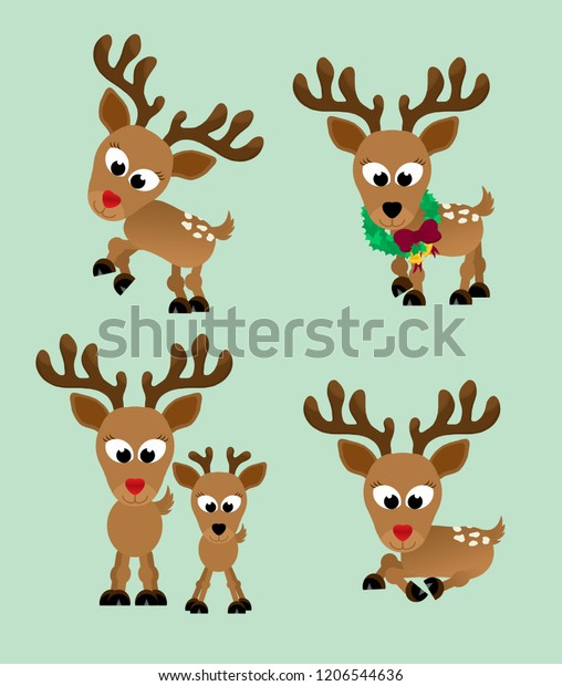 Adorable christmas reindeer with a shiny red nose in different poses - bucking, rearing, walking with a wreath around it's neck, mom and baby standing next to each other, and one laying down.