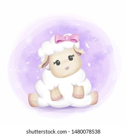 Adorable Cute Baby Sheep Girl
