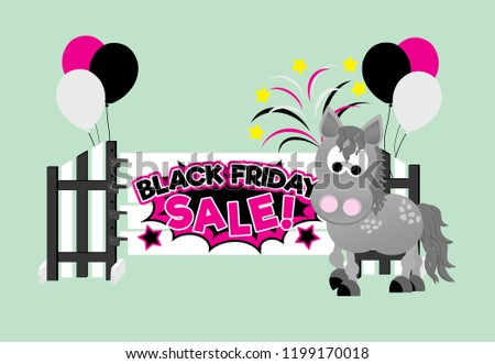 An adorable dapple grey cartoon horse celebrating Black Friday while standing in front of a show jump with balloons and fireworks in the background.