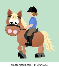 An adorable flaxen chestnut cartoon horse with an english saddle, bridle and rider wearing breeches, boots, a polo shirt, and helmet.