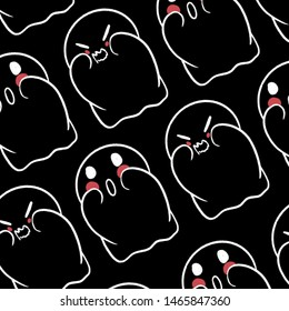 Adorable illustration of a spooky ghost. Halloween wallpaper of a lovely happy ghostly character. Greeting Holliday Halloween's card. Little charming welcoming creature template.