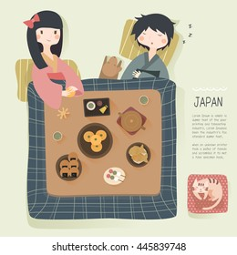 adorable Japan daily life in winter - to stay warm in the kotatsu
