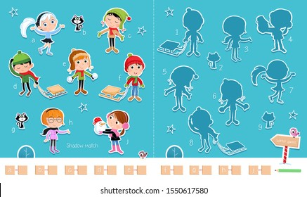 Adorable matching game suitable for preschool and school children - Match pictures and shadows