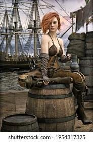 Adorable rosa Piratenweibchen machen eine Pause auf den Docks nach einem langen Abenteuer auf See. 3D-Rendering