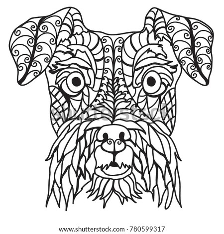 adorable schnauzer coloring page stock illustration 780599317