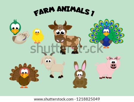 Adorable set of cartoon farm animals including a duck and chick, cow, peacock, turkey, goat, rabbit, and pig.