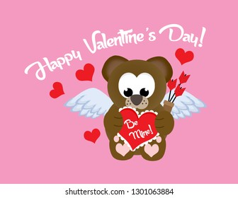 "Adorable valentine cupid teddy bear holding a box of chocolates with the words ""Be Mine"" surrounded by hearts and the words ""Happy Valentine's Day!"" on top."