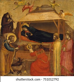 THE ADORATION OF THE MAGI, by Giotto, 1320, Italian Proto-Renaissance painting, tempera on wood. After the birth of Jesus, the Bible described in Matthew 2:11, three Kings made a pilgrimage to Jesus b