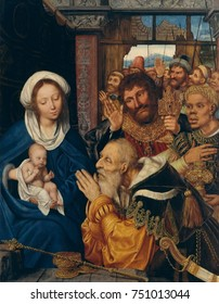 THE ADORATION OF THE MAGI, by Quentin Metsys, 1526, Netherlandish, Northern Renaissance oil painting. The scene is viewed up close, with figures separated from the viewer by a ledge at bottom.