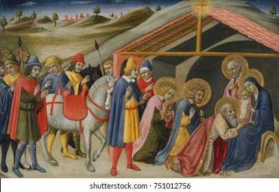 ADORATION OF THE MAGI, by Sano di Pietro, 1470, Italian Renaissance painting, tempera, gold on wood. After the birth of Jesus, the Bible described in Matthew 2:11, three Kings made a pilgrimage to Jes