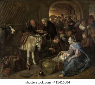 The Adoration of the Shepherds, by Jan Steen, 1660-79, Dutch painting, oil on canvas. The scene is depicted as it would have appeared in 17th century Netherlands. A procession of shepherds come to th