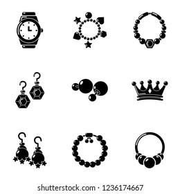 Adornment icons set. Simple set of 9 adornment icons for web isolated on white background