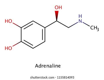 Adrenaline (adrenalin, epinephrine) neurottransmiter molecule formula. Used as drug in treatment of anaphylaxis skeletal.