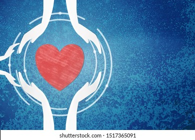 Adult and child hands holding a red heart on a blue background. Health heart, family day, organ donation, world mental health day, Love concept, Cardiology healing, Health care insurance of family.
