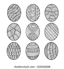 Adult Coloring Book Page Design Depicting Easter Eggs For