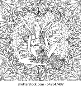 Adult coloring book page with fairy Pregnant lady with butterfly wings. Pregnancy in doodle style art. Black and white, monochrome illustration or print design