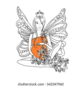 Adult coloring book page with fairy Pregnant lady with butterfly wings. Pregnancy in zentangle style art. Black and white, monochrome illustration or print design