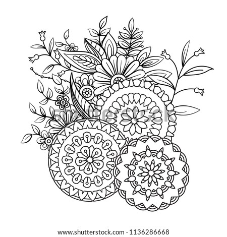Adult Coloring Book Page Flowers Mandalas Stockillustration ...