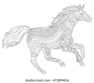 Adult Coloring Page For Antistress Art Therapy Running Horse In Zendoodle Style Template