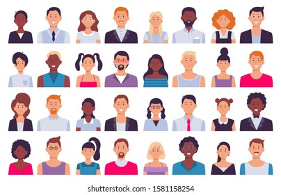 Adult people avatars. Man in business suit, corporate woman avatar and professional person. Face avatars portrait, multicultural human head portraits. Isolated icon flat  illustration set