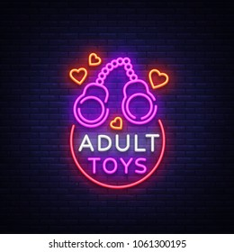 Adult toys logo in neon style. Design template, sex shop neon signs, light banner on the theme of the sex industry, vivid neon ad for your projects. illustration.