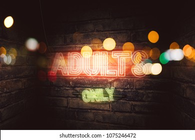 Adults Only 18+ neon sign on brick wall, conceptual 3d rendering illustration for pornography, sex and adult content