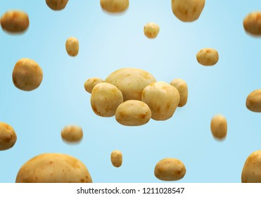 adv composition of flying potatoes isolated
