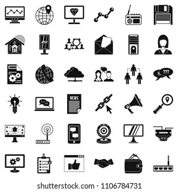 Adv file icons set. Simple style of 36 adv file icons for web isolated on white background