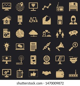 Adv file icons set. Simple style of 36 adv file icons for web for any design