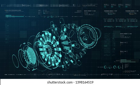 Advance motion graphic futuristic user interface head up display screen with Holographic electromagnetic engine with gravitational fields energy particles wave and digital data telemetry information