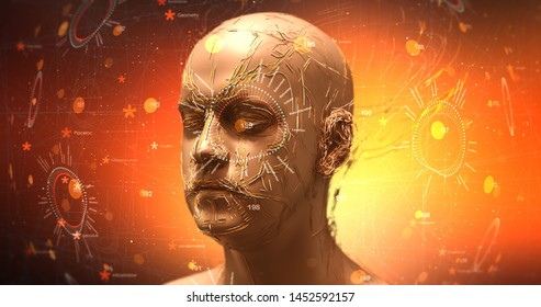 Advanced Bionic Robot Head With HUD Data - Technology Related 3D Illustration Render