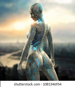 advanced cyborg android female character