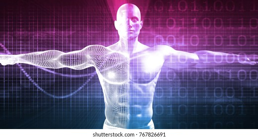 Advanced Medical Science with Human Body Mesh Transforming 3D Render